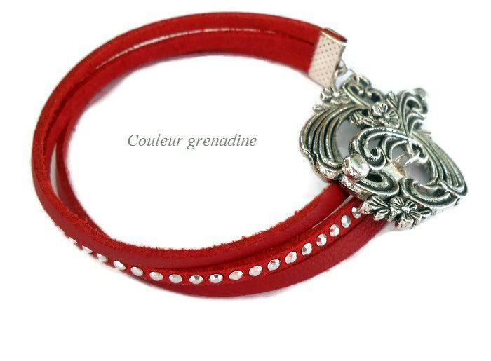 Bracelet cuir et suédine strass rouge : Bracelet par couleur-grenadine33