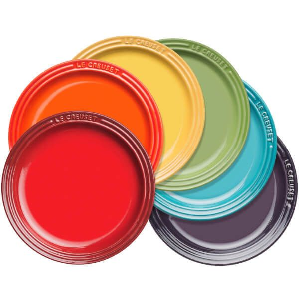 Le Creuset Stoneware Rainbow Plates (Set of 6) ($87) ❤ liked on Polyvore featuring home, kitchen & dining, dinnerware, stoneware plates, le creuset stoneware, le creuset plates, le creuset and stoneware dinnerware