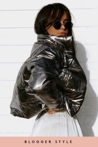 Clarissa Silver Metallic Cropped Bubble Jacket