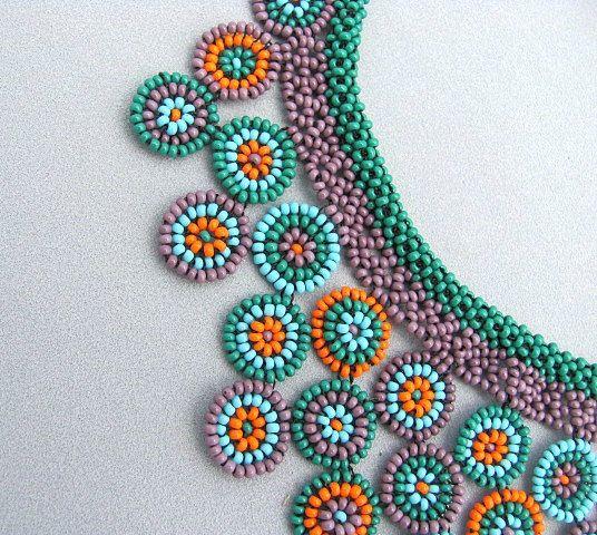 Círculo Collage collar semillas de collar de abalorios Art