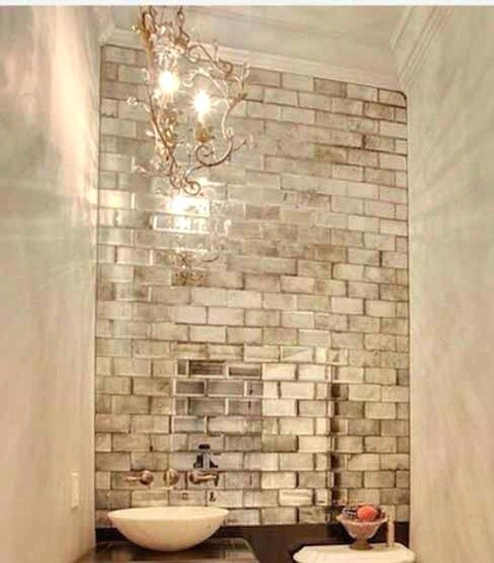 Peel And Stick Mirrored Subway Tile Bathroom Antique Mirror Brick