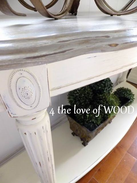 4 the love of wood: WEATHERED WHITE WASH LINK - silvered console
