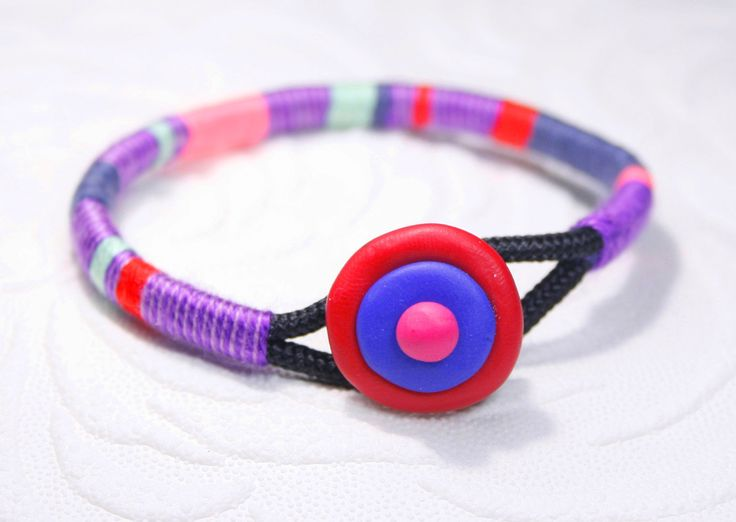 Purple bracelet, Purple hippie bangle, Purple String bracelet, purple Statement Bracelet, multicolor bangle, unique item Personalized bangle by SanguineJewelry on Etsy