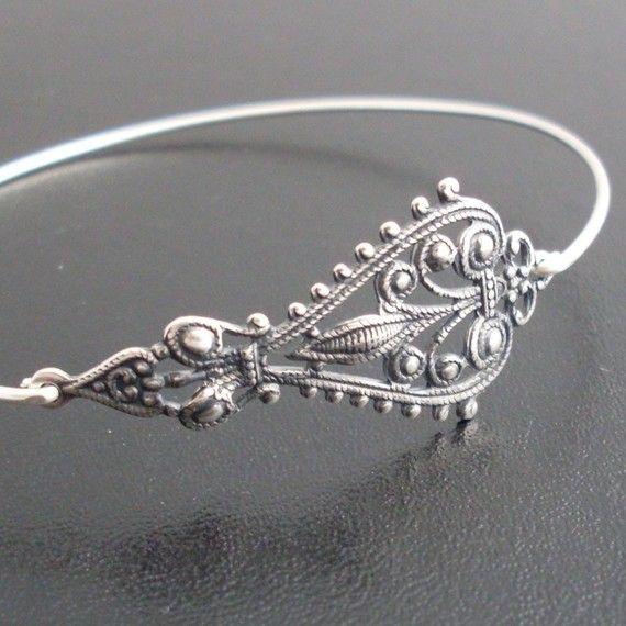 Bohemian Bangle Bracelet, Maylana - Silver, Gypsy Bohemian Jewelry, Gypsy Bracelet, Gypsy Bangle Bracelet, Bohemian Bracelet, Gypsy Jewelry