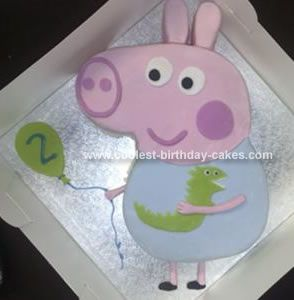 Homemade Peppa Pig Cake: Here is the George Peppa Pig cake I made for my little boy's 2nd birthday. It is the second cake I have ever made! ( 1st being a heart shaped practice