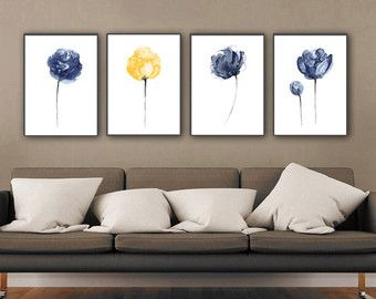 Fleur marine situé 4 pivoine fleurs bleu décoration murale, peinture d'aquarelle abstraite minimaliste, jaune impression d'Art salle de séjour, chambre d'enfant chambre affiche