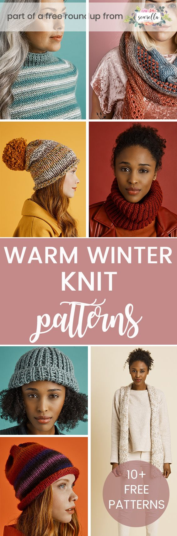 Knit these warm winter hats, wraps, sweaters, and cowls from my free pattern roundup!