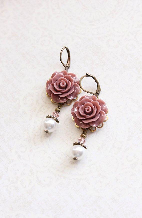 Rose Earrings Dusty Rose Pink Pearl Drop Floral Dangle