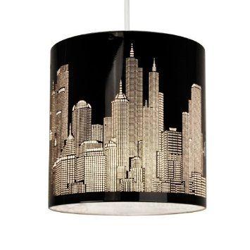 Modern Gloss Black New York Skyline Ceiling Pendant Shade: Amazon.co.uk: Lighting