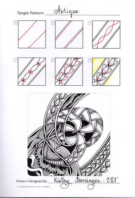 Zentangle. Обучение. Формат страницы А5. Гелевые ручки, карандаш. Шаблон с сайта TanglePatterns.com.