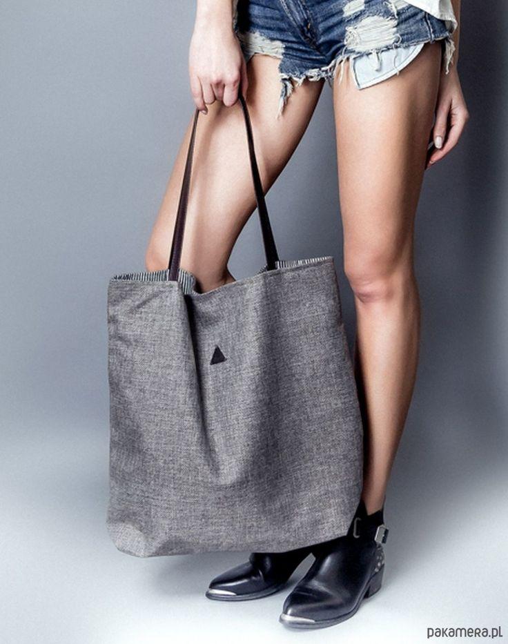 torby na ramię - damskie-torba triangle szara