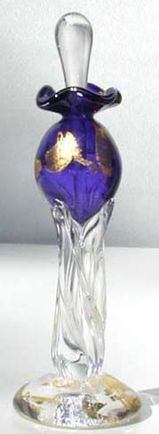 Blue and Gold Blown Glass Perfume Bottle.