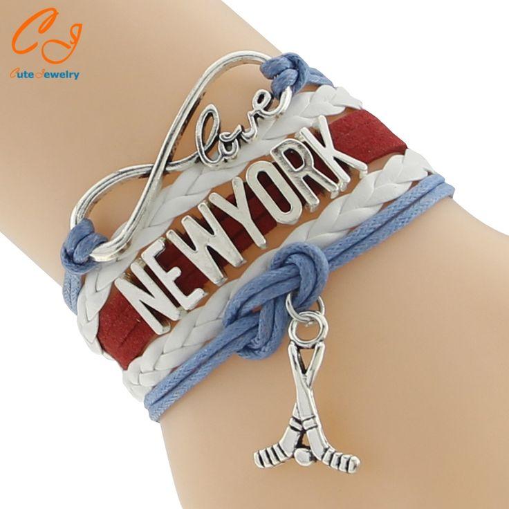 Infinity Love NEWYORK Hockey  any name any color custom leather charm bracelets & bangles