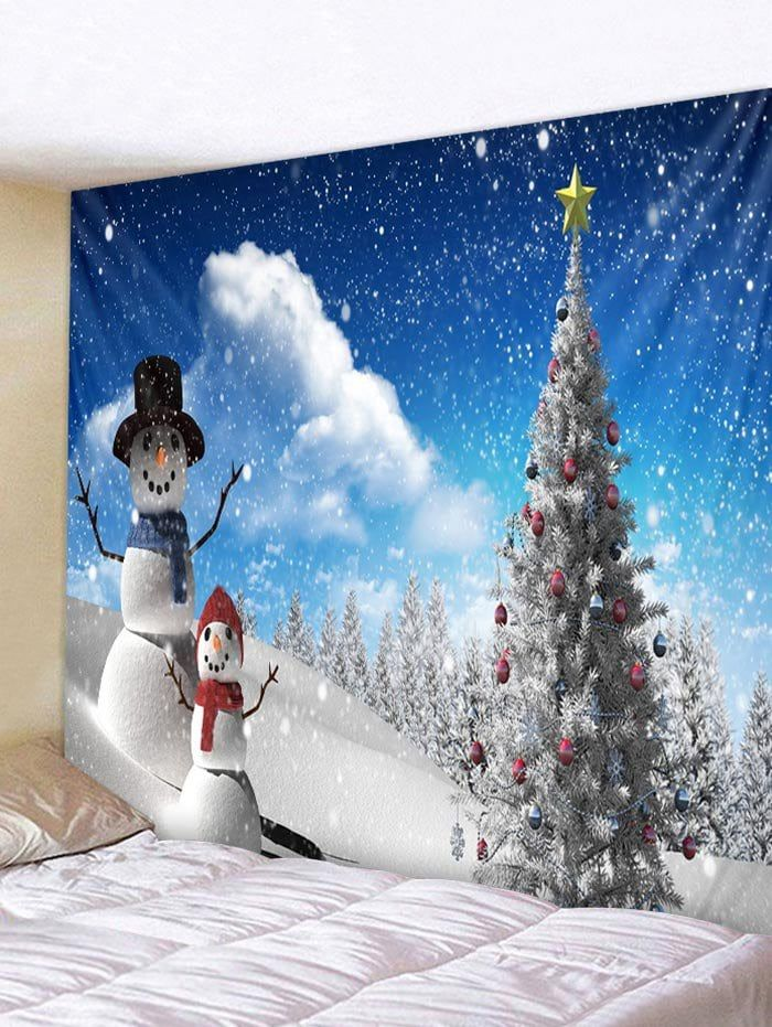 Christmas Tree and Snowmen Pattern Wall Hanging Tapestry Christmas