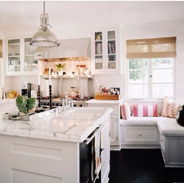 white color window seat | White Kitchen Window Seat | For the Home | Pinterest