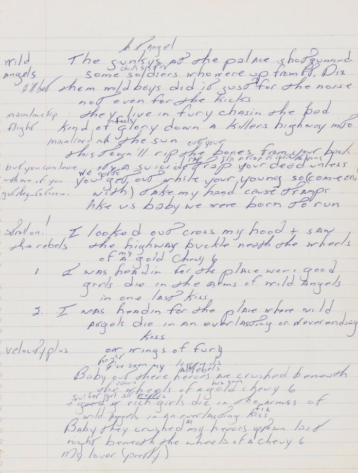 Springteen 'Born To Run' handwritten manuscript going up