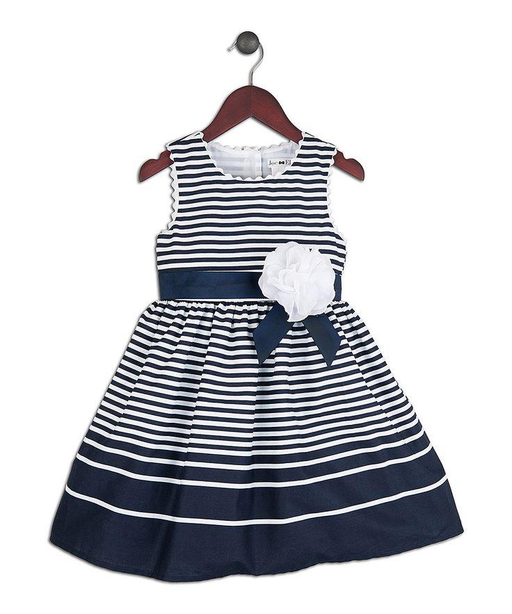 Take a look at this Joe-Ella Navy & White Stripe Nautical Dress - Toddler & Girls on zulily today!