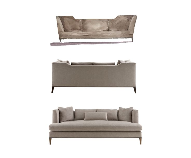 Watercolor to reality | Presidio sofa from The Barbara Barry Collection | Baker Furniture