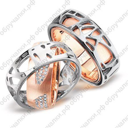 96000 за оба Оригинальные парные широкие вращающиеся обручальные кольца из комбинированного золота с бриллиантами
