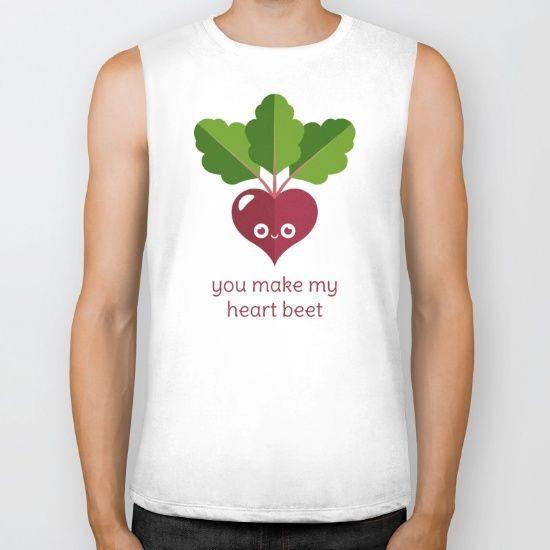 You Make My Heart Beet Biker Tank - pun, puns, beet, beets, vegetable, vegetables, food, funny, cute, love, relationship, tasteful, tasty, relationships, valentine, valentines, vector, art, illustration, drawing, design