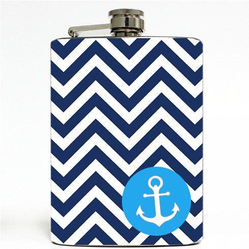 Navy Blue Chevron Chevron with Anchor Logo Nautical by Swagstr
