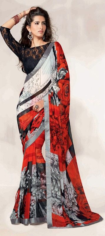 140963, Printed Sarees, Faux Georgette, Lace, Printed, Fancy Work, Multicolor Color Family