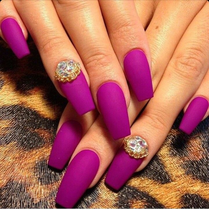 Matte Magenta / Purple Square Tip Acrylic Nails w/ Rhinestones