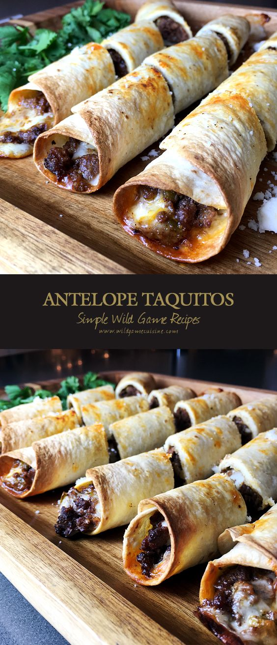 Baked Antelope Flour Taquitos. Made with ground antelope, cumin, oregano, chili powder, salt, garlic powder, grilled anaheim chilis and monterey jack cheese.