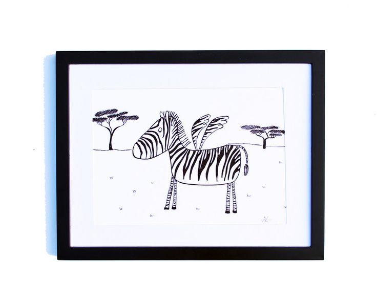 Fineliner – Drawing handmade 20x30cm: Zebra on the savannah – a unique product by ARTandCAT on DaWanda