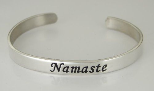 """""""Namaste"""" on a Sterling Silver Cuff Bracelet...Say it All The Silver Dragon- Bracelets. $108.00. This Bracelet Fits a Standard Woman's Wrist. Designed And Hand- Crafted in Sterling Silver. This Unique Bracelet is Created only after Your Order Arrives. Please Allow 7-10 days for Delivery.. The Silver Dragon uses Sterling Silver that has been Reclaimed... Helping Save Mother Earth's Resources.. This Bracelet was Designed by The Silver Dragon, a Jewelry Shop in New ..."""