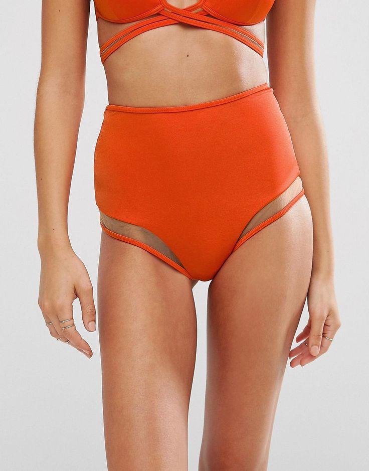 ¡Cómpralo ya!. Braguitas de bikini de talle alto con aplicación de malla Mix and Match de ASOS. Braguitas de bikini de ASOS Collection, Tejido de baño liso, Aplicaciones de malla transparentes, Cintura de talle alto, Corte estilo calzoncillo, Lavar a mano, 80% poliamida, 20% elastano, Modelo: Talla UK 8/EU 36/USA 4.  , bikini, bikini, biquini, conjuntosdebikinis, twopiece, bikini, bikini, bikini, bikini, bikinis. Bikini  de mujer color naranja oscuro de Asos.