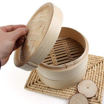 2 Tier Bamboo Steamer Dim Sum Basket Rice Pasta Cooker^.