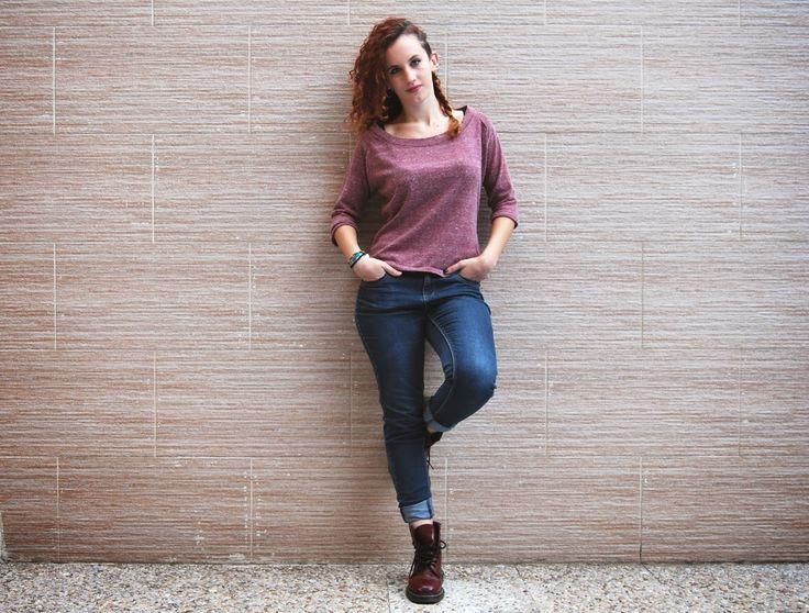 Tela, patrón, tijeras: Camiseta de manga tres cuartos en punto - DIY de otoño con patrones