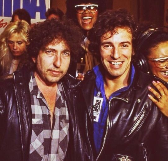 """bruce and bob dylan in the making of the video and song recording of  """"We are the World"""""""