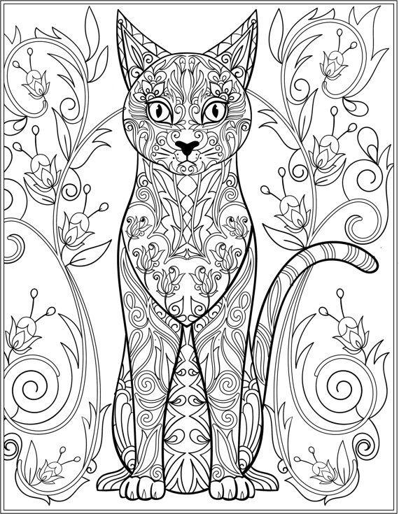 Картинки кошек распечатать цветные черно белых