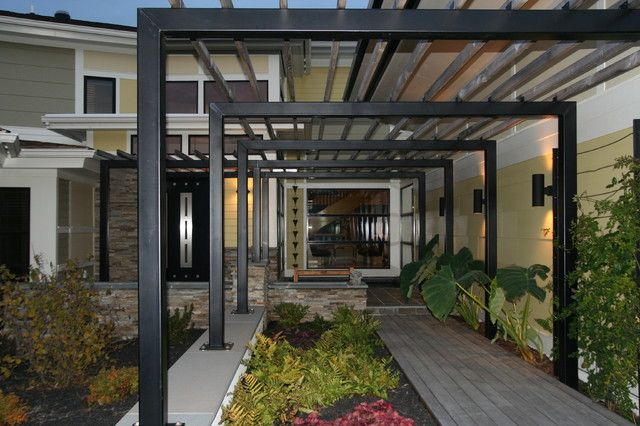 Modern Metal Pergola For The Modern House: Innovative Iron Pergola Design Above The Stone Floor And The Soil Space For The Green Plantations ~ SFXit Design Pergola Inspiration