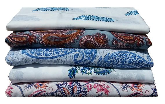 1 Yard Bundle of Cotton Printed fabric , Soft Cotton , Hand Block Print , Indian Prints - 5 Fabrics