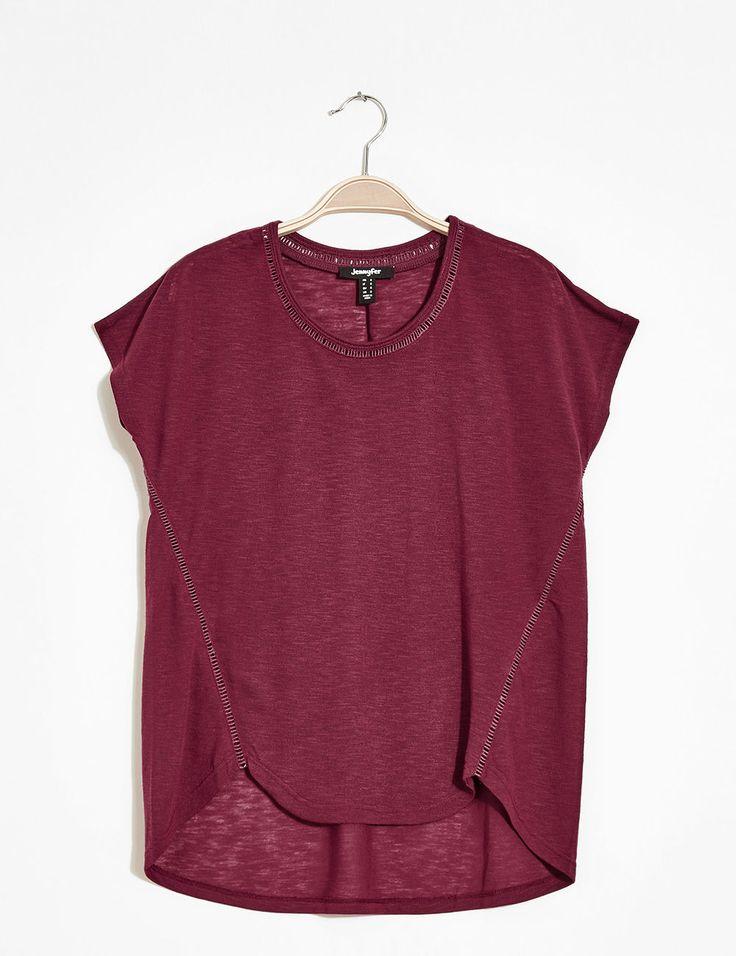 Tee-shirt loose galon ajouré bordeaux femme • Jennyfer