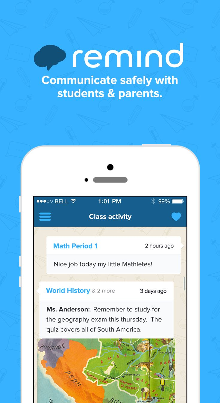 Remind is a free, safe, and easy way for teachers to connect instantly with students and parents.