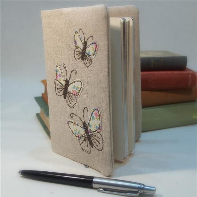 A6 Notebook Fabric Cover Butterfly Freehand Machine Embroidered MOTHERS DAY GIFT £12.00