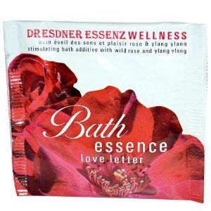 Dresdner Essenz Wellness, Bath Essence, Love Letter: Stimulating Bath Additive with Wild Rose and Ylang Ylang For 1 Bath 'Love Letter' with wild rose scent and natural, essential ylang ylang oils. The sensual blend of rose and ylang ylang has as uplifting effect and stimulates the imagination.