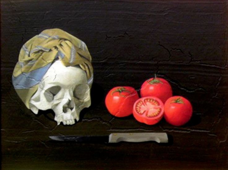 Helena Leigh-Hunt  Vanitas with tomatoes  1986