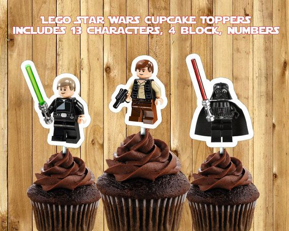 Printable Lego Star Wars Cupcake Toppers by InstaBirthday on Etsy