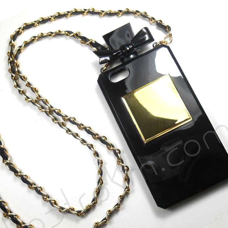 This beautifully chic perfume bottle shaped phone case for the iPhone 5 5S comes with a matching cross body chain , love!