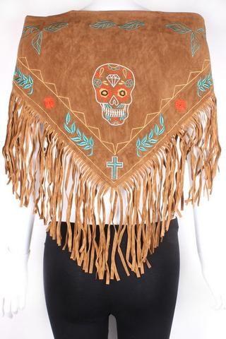 Pañuelo boho de ante marrón con flecos y bordados