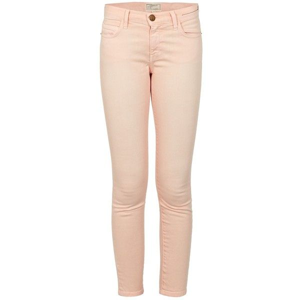 CURRENT ELLIOTT Stiletto Peach Jean ($340) ❤ liked on Polyvore featuring jeans, peachpit, pastel pink jeans, current/elliott, pastel jeans, peach jeans and pink jeans