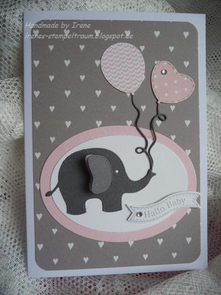 ...ist dieser kleine Elefant mit den Luftballons.   Es sind Stanzschablonen von Rayher und entdeckt habe ich sie bei Tanja und bei Ruth ...