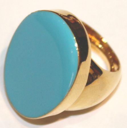Grande anello con smalto turchese firmato Kenneth Lane.