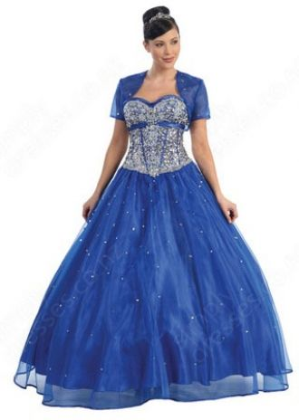 BallGown Sweetheart Organza Floor-length Royalblue Beading Prom Dress