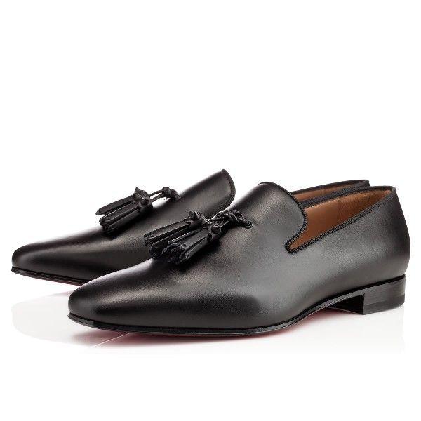 Christian Louboutin Dada Flat Black Leather Loafers Mens